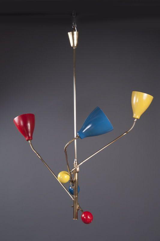 Angelo Lelli; Enameled Metal and Brass Ceiling Light for Arredoluce, 1950s.
