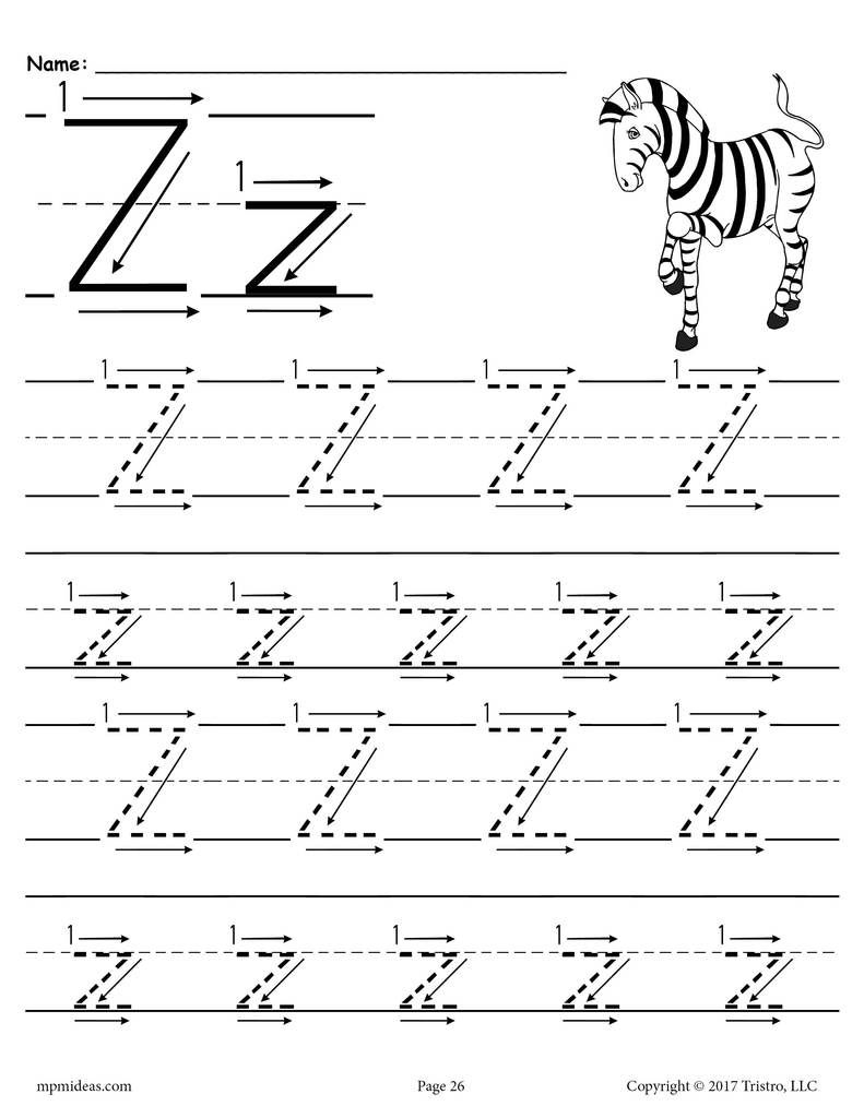Printable Letter Z Tracing Worksheet With Number And Arrow Guides Tracing Worksheets Tracing Worksheets Preschool Alphabet Worksheets Preschool [ 1024 x 791 Pixel ]