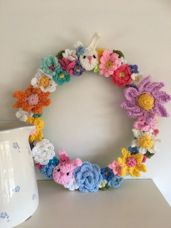 Photo of Mother's Day Wreath – Easter Wreath – Hand Made Crochet Wreath – rainbow wreath – floral wreath