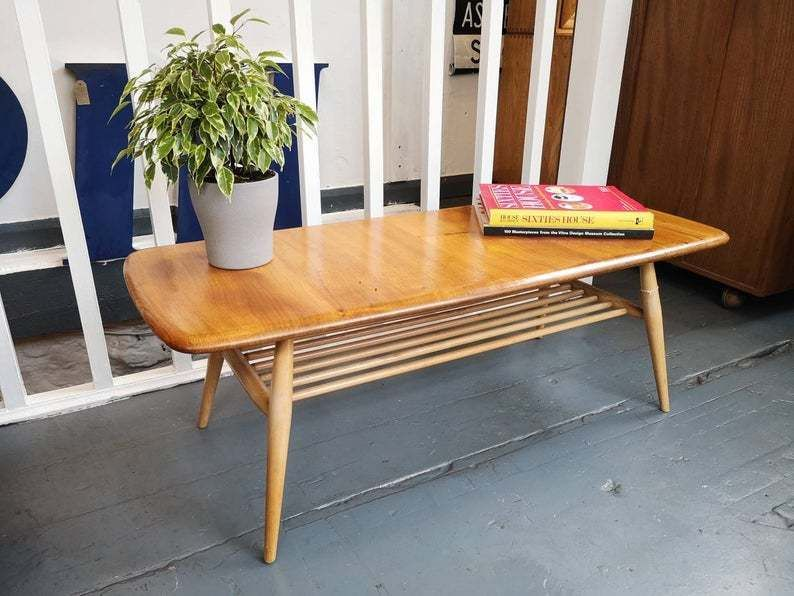 1960s Ercol Coffee Table With Magazine Rack Vintage Retro Mid