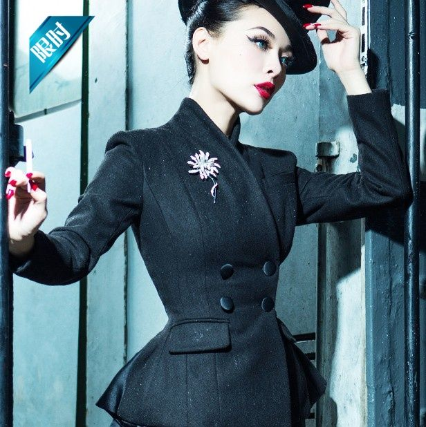 b07ee5a2c43 le palais vintage women 50s black wool peplum chaqueta smoking mujer coat  pinup jacket plus size 4xl manteau femme blazer on Aliexpress.com
