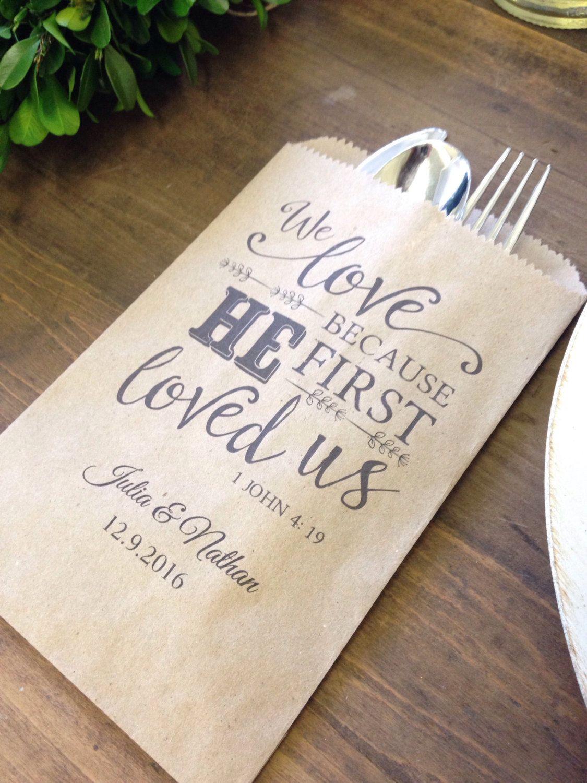 Christian Wedding Favor, Utensil or Bread Favor Bags Customized ...