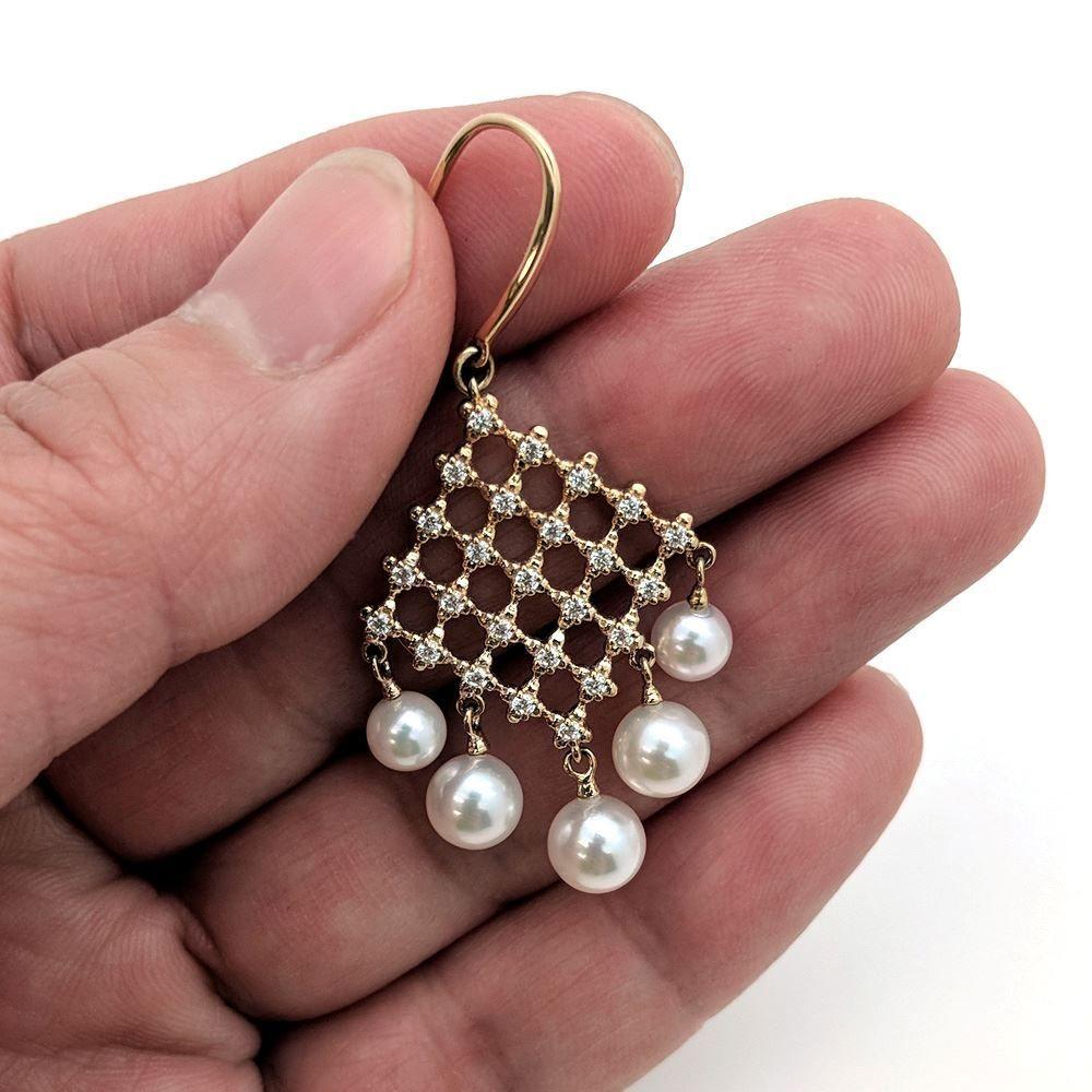 14K White Akoya Pearl Chandelier Earrings 5mm Grade AAA