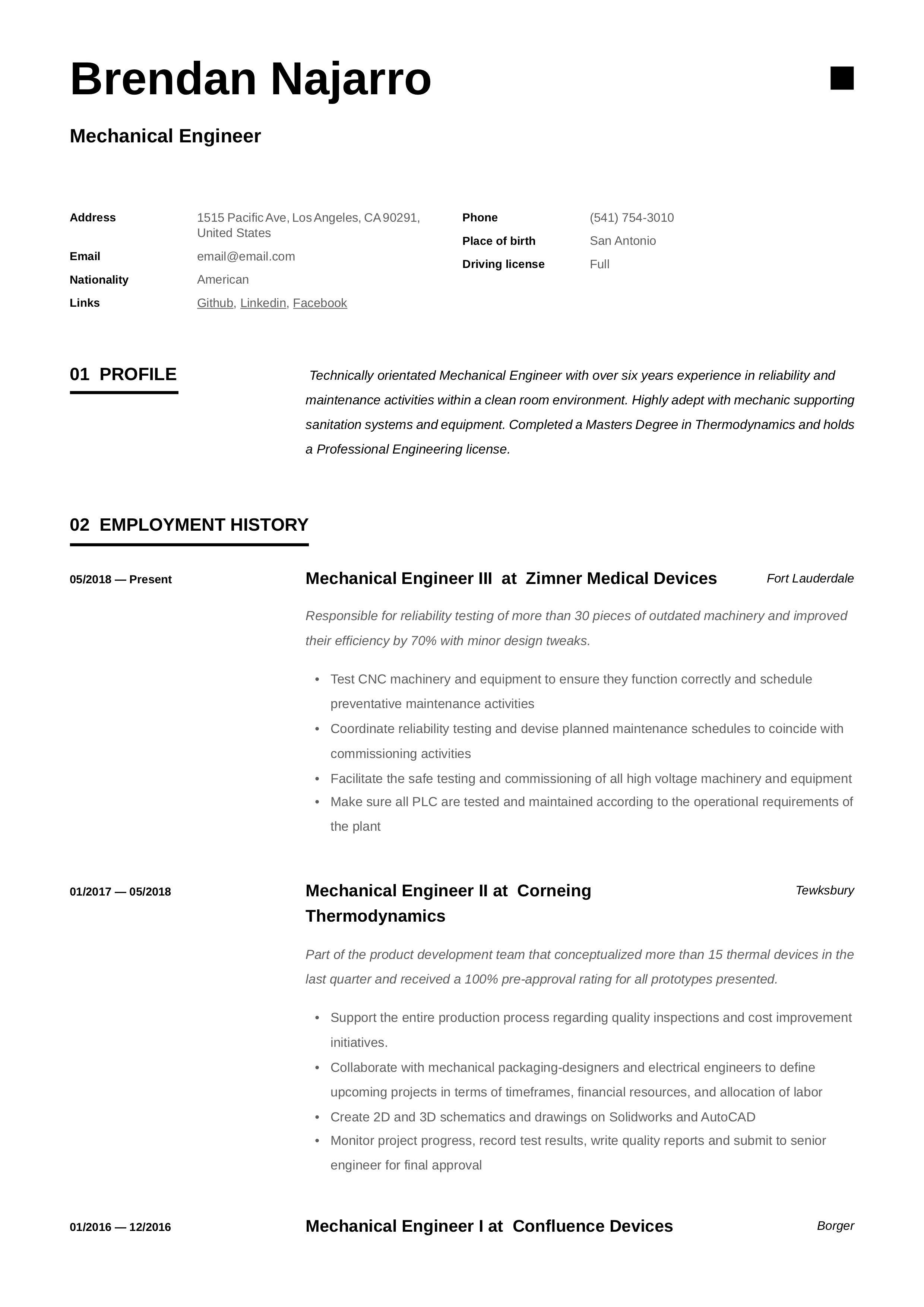 Mechanical Engineer Resume Template Engineering Resume Engineering Resume Templates Mechanical Engineer Resume