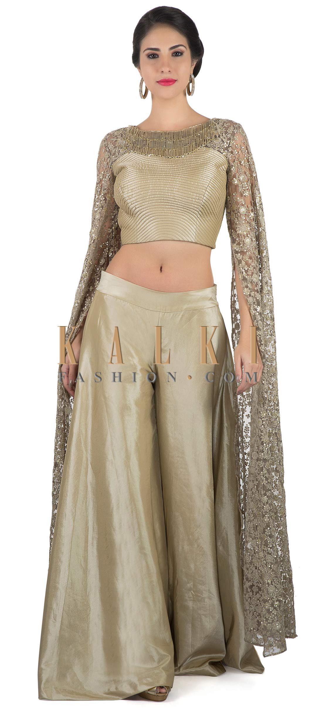 cbd1fbed3a8 Grey palazzo suit with thread and sequin long slit sleeve only on Kalki