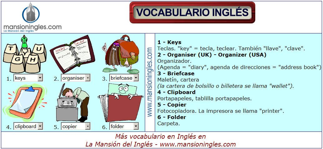 Vocabulario en ingl s de la oficina vocabulario ingl s for Oficina en ingles