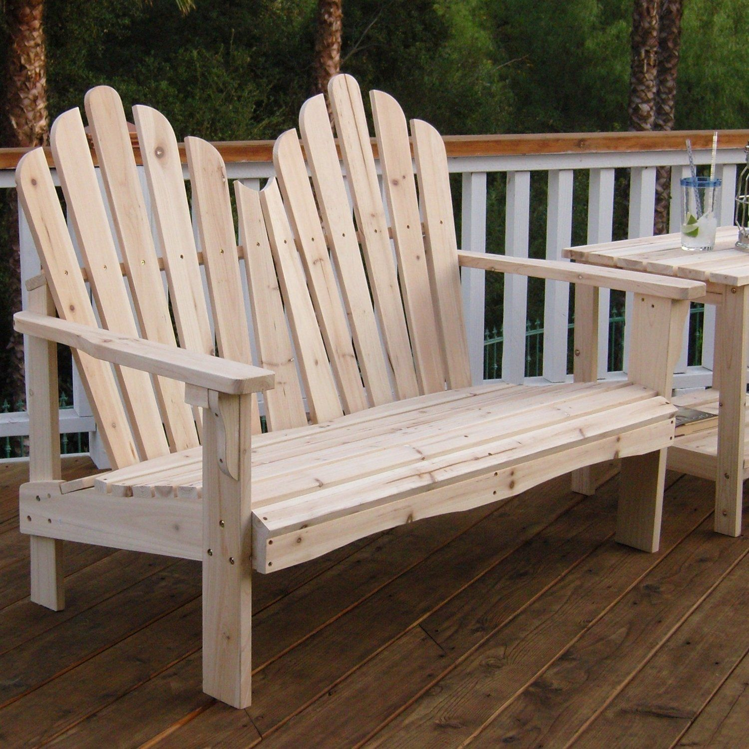 This 2 Seat Adirondack Style Outdoor Cedar Wood Garden Bench Would Be A Great Addition Garden In The Woods Wooden Garden Benches Outdoor Garden Bench