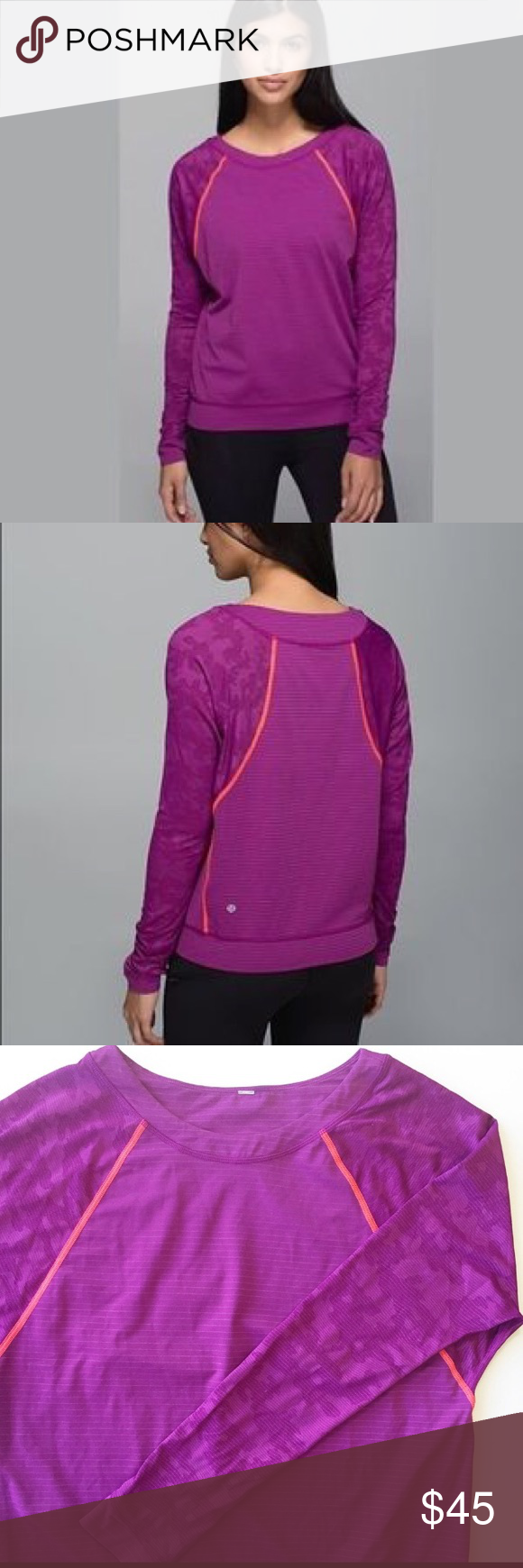 Lululemon Run For Days Long Sleeve Tee with Camo 6 Lululemon Run For Days  Long Sleeve Top Size 6 Regal Plum color with Orange accent stitching. 7fdd3f7e4f2e