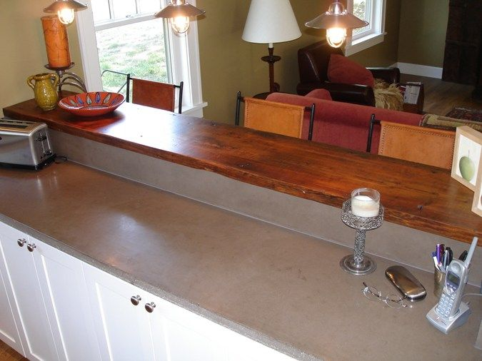 Concrete Counter Top With Wood Breakfast Bar Add Some Blue Subway Tile