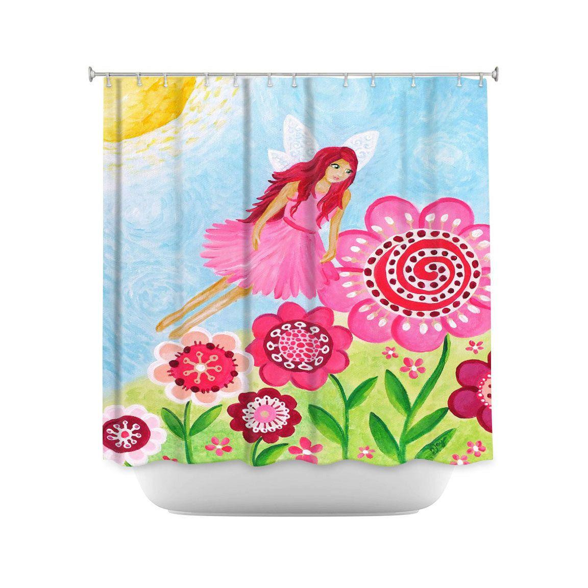 Pink Flower Fairy Shower Curtain Childrens Decor Pink Bathroom Decor