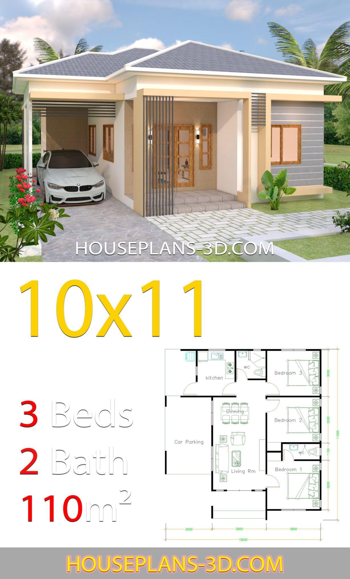 House Design 10x11 With 3 Bedrooms Hip Tiles House Plans 3d Arsitektur Rumah Indah Arsitektur Rumah