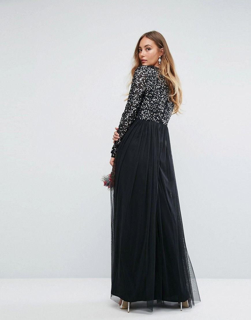 0f3013777e3 Maya Tall Plunge Front Long Sleeve Maxi Dress In Tonal Delicate Sequin
