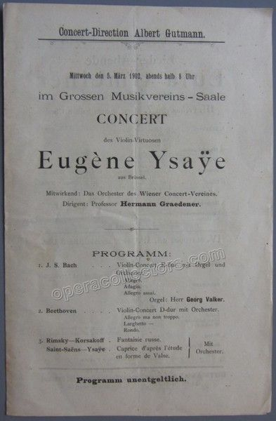 Ysaye Eugene  Concert Program Vienna   Vienna And Products