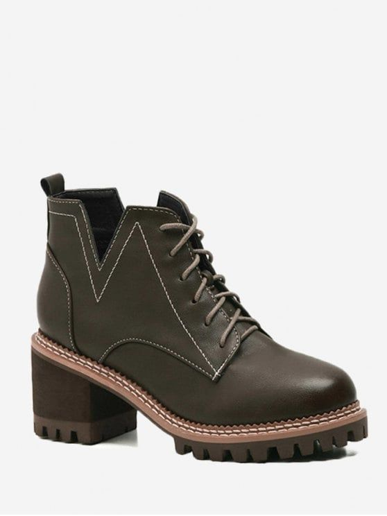 Lace Up Stitching Curve Boots - BLACKISH GREEN 36