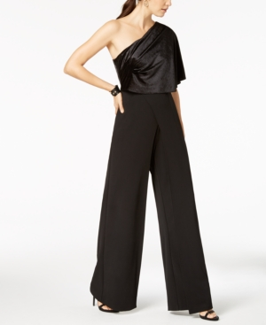 dca577d08bb Adrianna Papell Velvet One-Shoulder Jumpsuit - Black 2. Adrianna Papell Petite  Draped ...