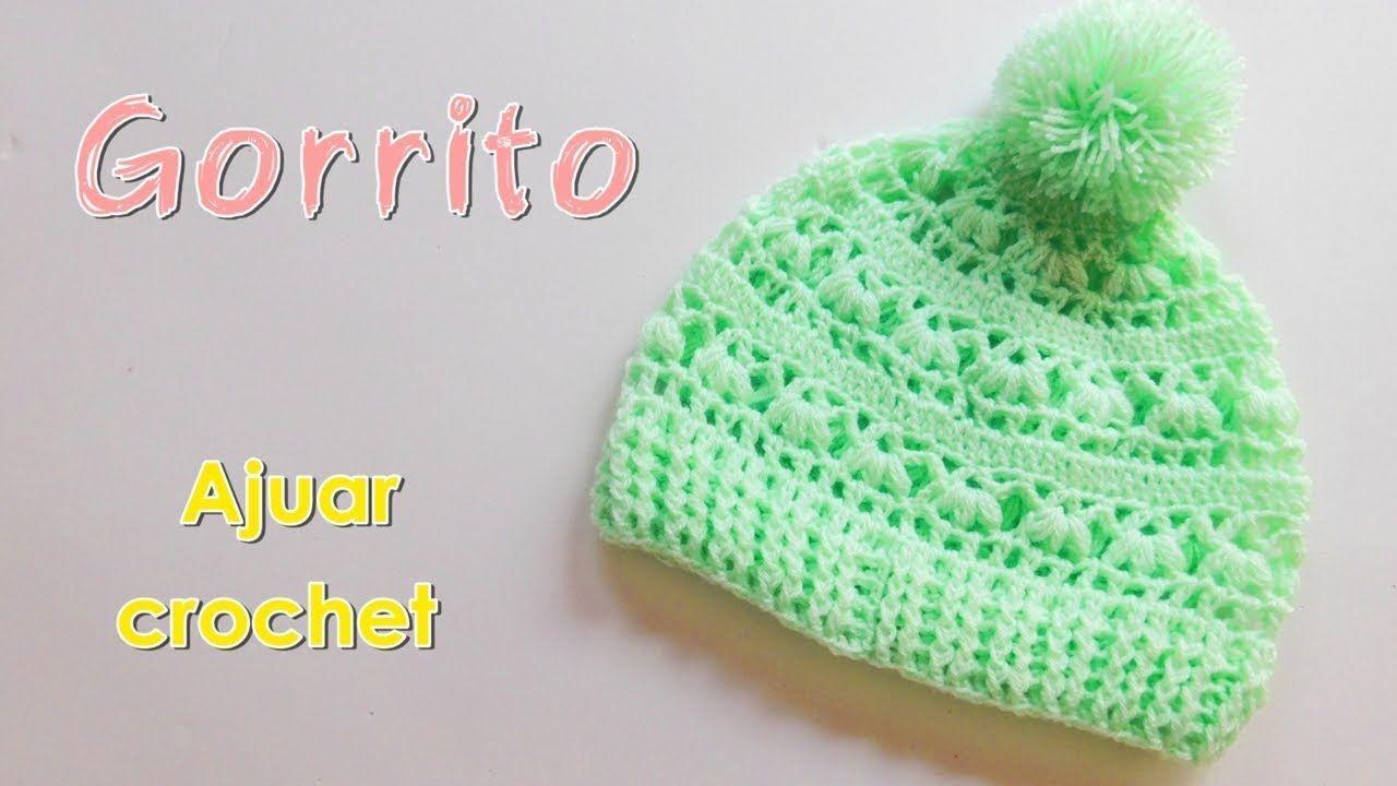 Patron Ajuar: Gorro para bebe a crochet -ganchillo - YouTube   Para ...
