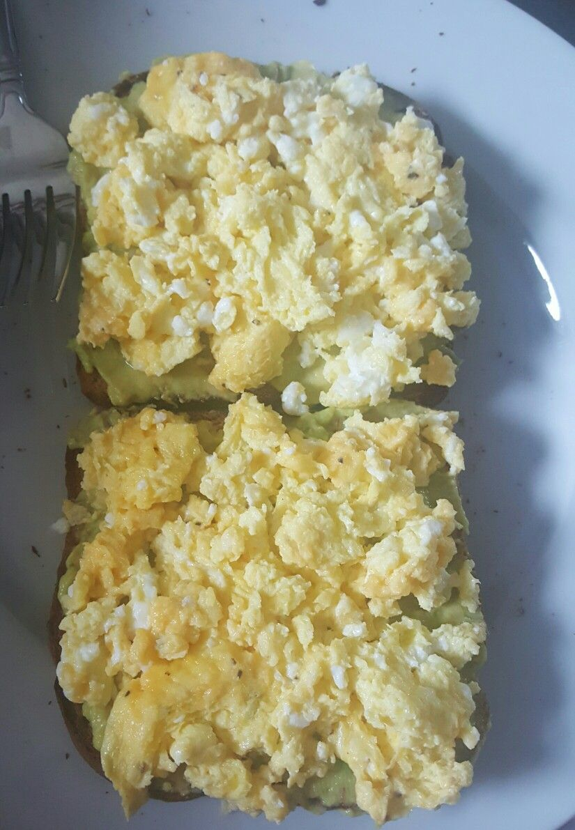 Fertility Food Breakfast Whole Wheat Toast Topped With Avocado And Scrambled Eggs Made A Splash Of Milk Just Pinch Shredded Cheese