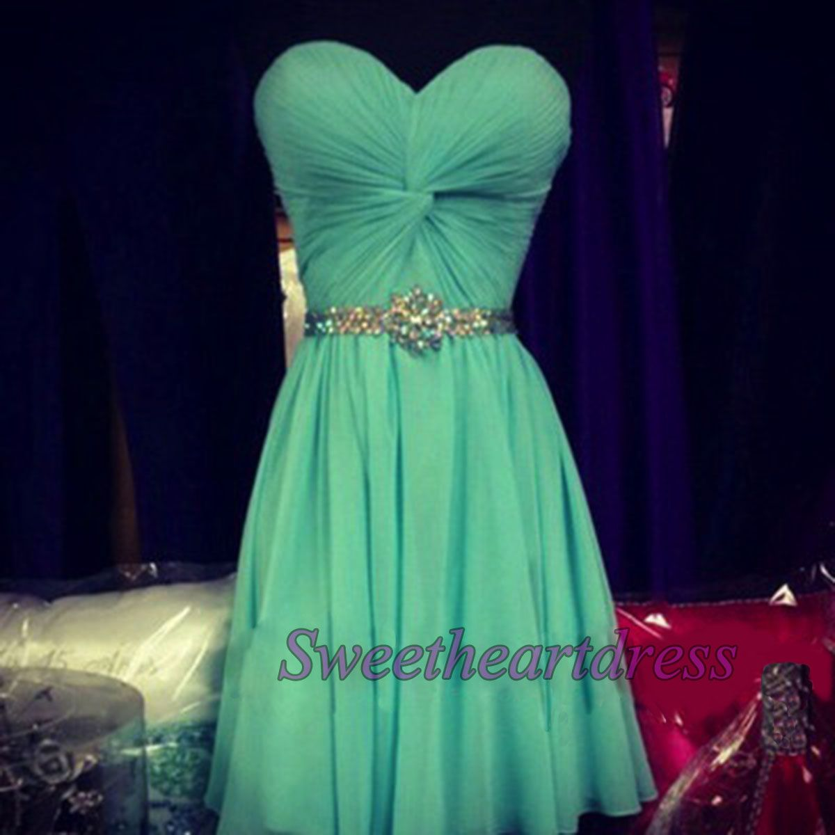 Cute turquoise chiffon strapless short prom dress bridesmaid dress
