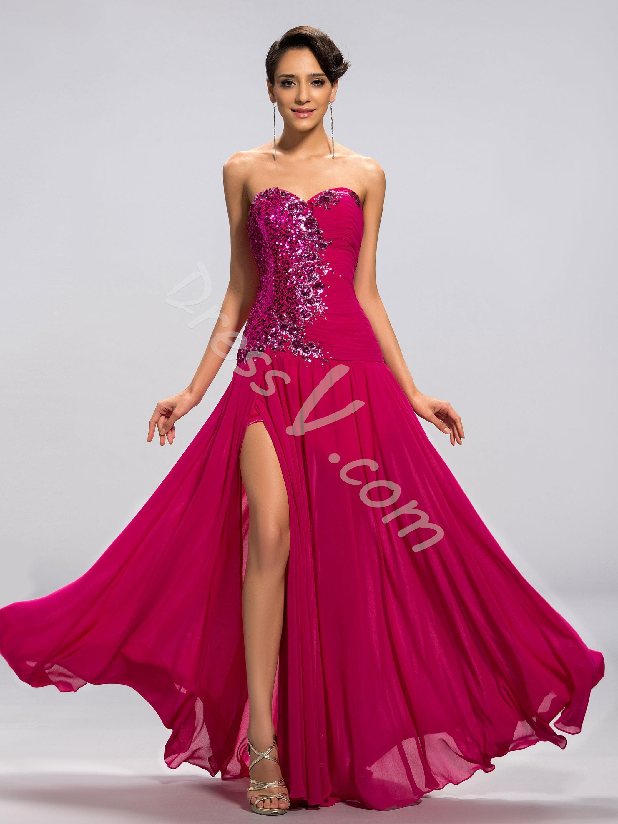 Customized A Line Sweetheart Sequins Front Split Prom Dress Jpg Split Prom Dresses Dresses Popular Prom Dresses [ 2800 x 2100 Pixel ]