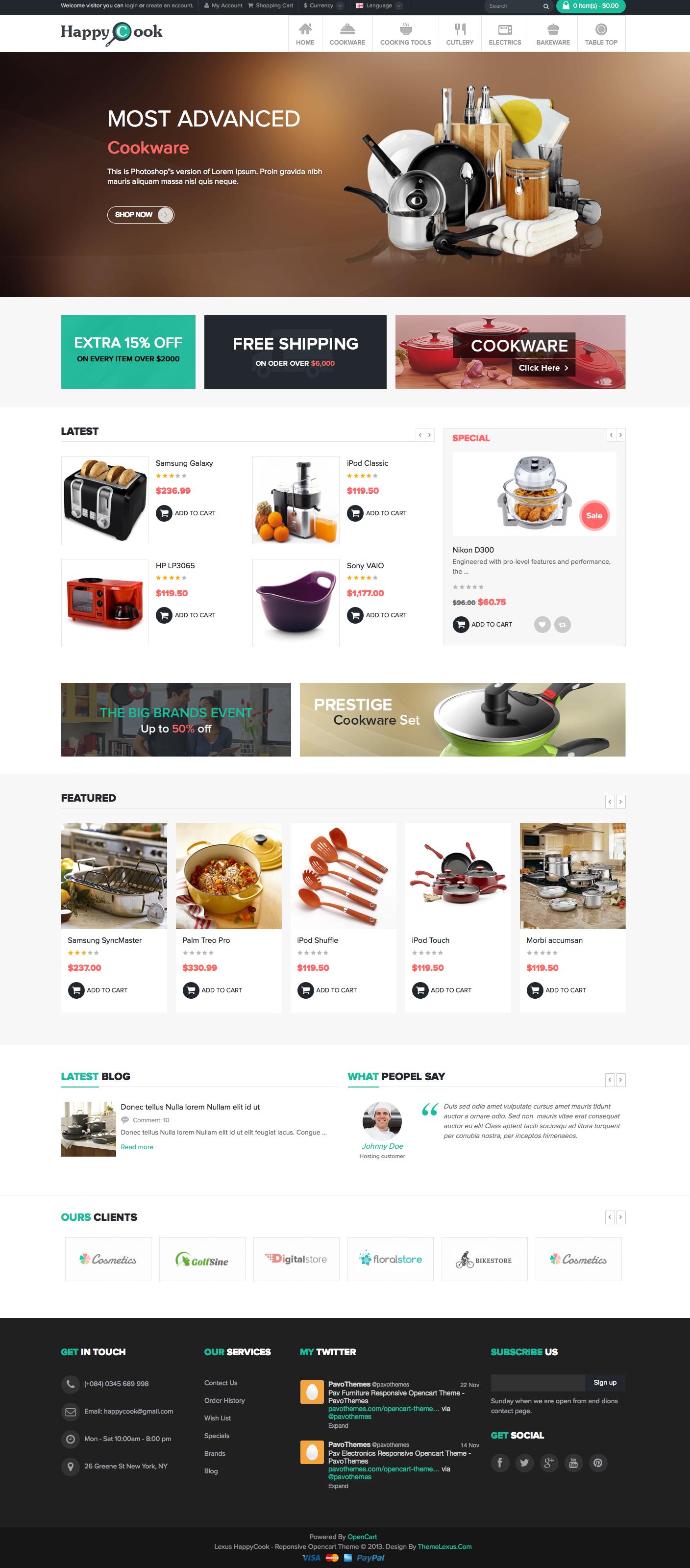 Cookware Happycook Responsive Opencart Theme Demo Buy And