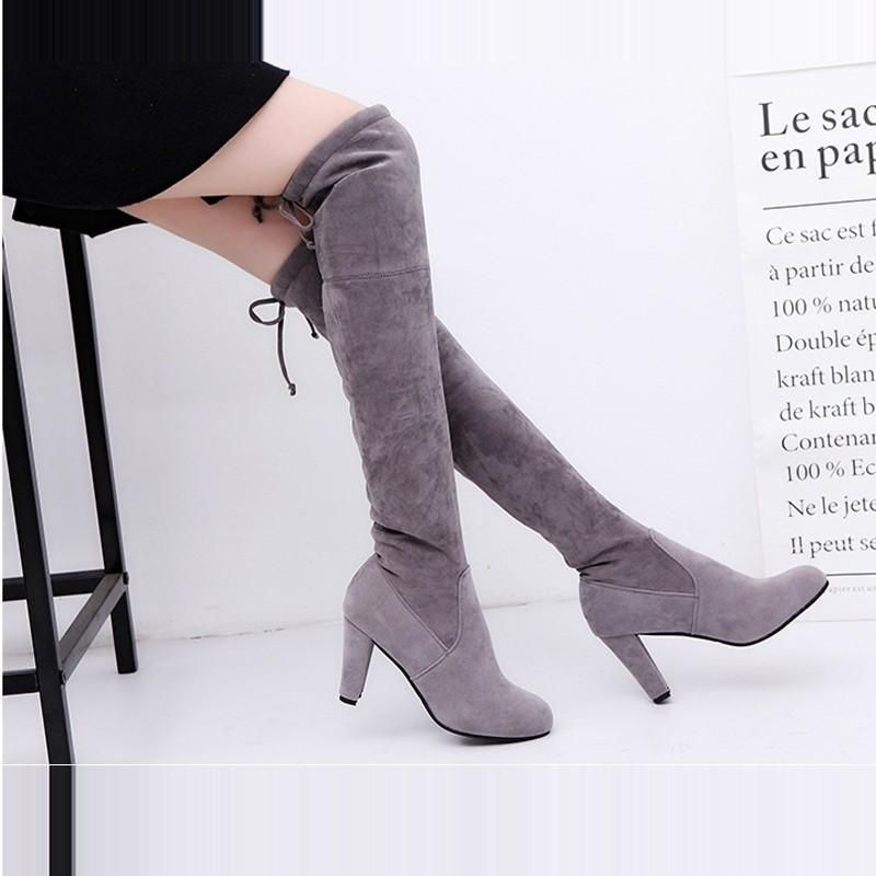43695aaafb7 Soft faux suede boot with a rounded toe. Wear it over the knee
