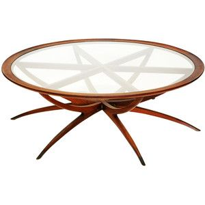 Danish Mid Century Modern Spider Leg Teak Coffee Table with Glass