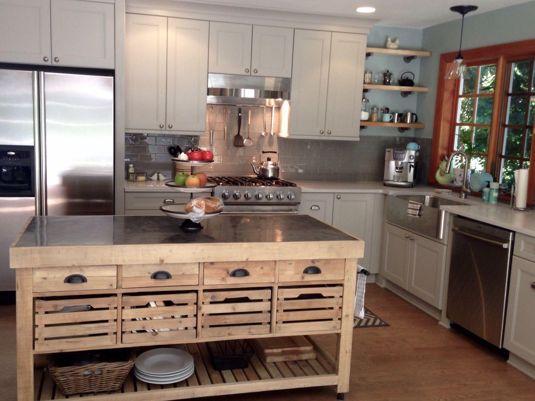 Williams Sonoma Kitchen Island Gray Cabinets Grey Griege Gl Subway Tile Stainless Farm Sink Open Shelving Restoration Hardware Quartz Countertops