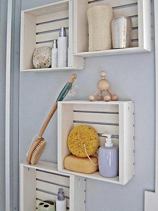 Hang Painted Wooden Crates On Bathroom Walls For Display And Storage Diy Bathroom Storage Bathroom Organization Diy Clever Bathroom Storage