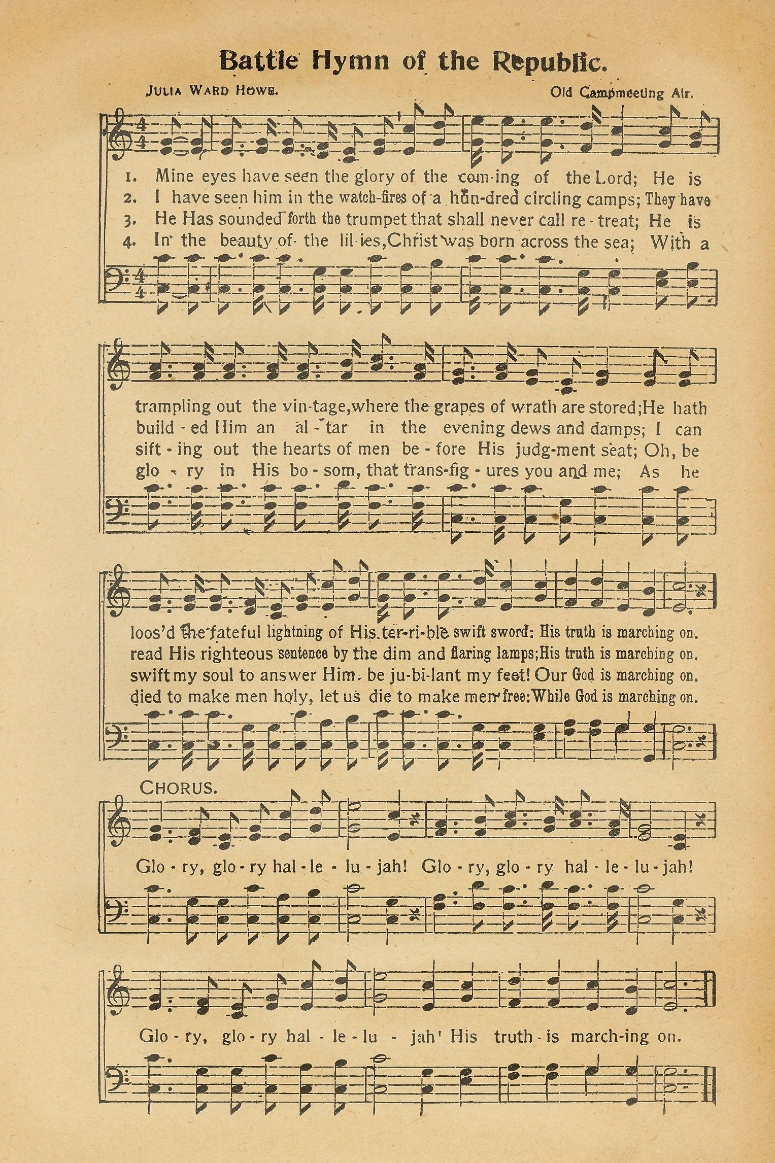 Sheet Music Battle Hymn Of The Republic With Images Hymn