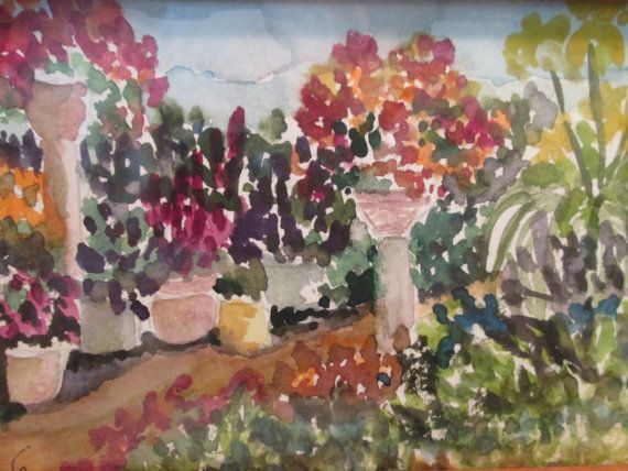 Original Water Color Painting Garden Path By CParisPaintings, $50.00