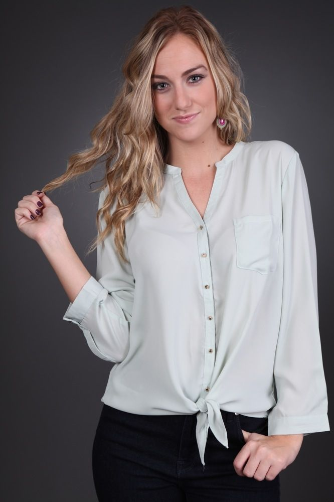 Pale Mint Tie Top only $34.99 #sophieandtrey #mint #tie #top #shirt #need #fall #layer #online #shopping #shop #womens #apparel #clothing #clothes #fashion #style #trends