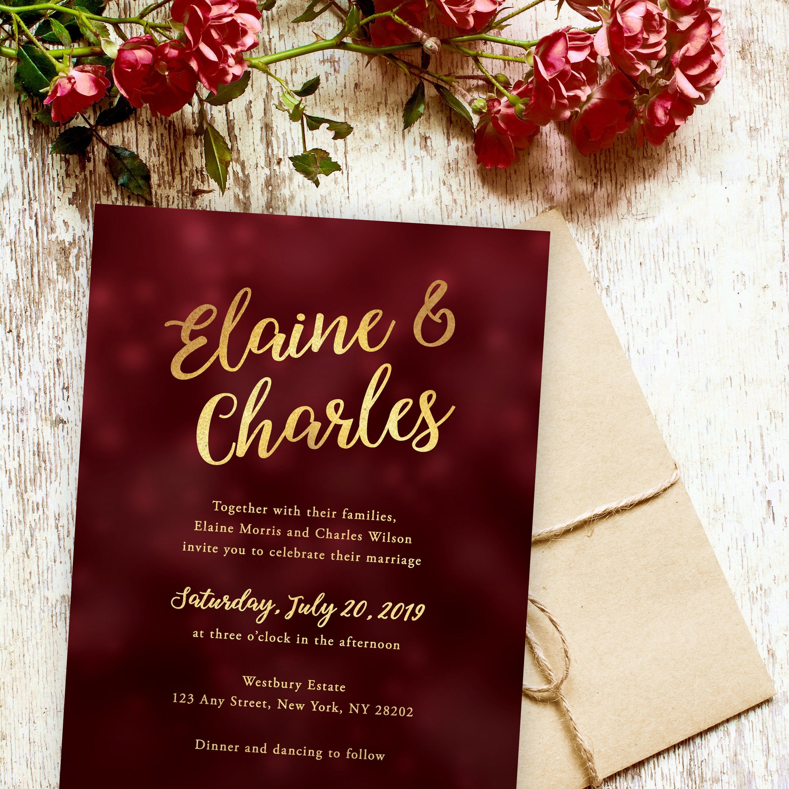 This burgundy and gold wedding invitation set includes matching