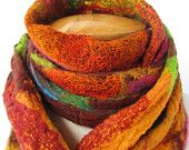 Nuno felted scarf in rust, orange, and pink, $85.00 by BlindSquirrel