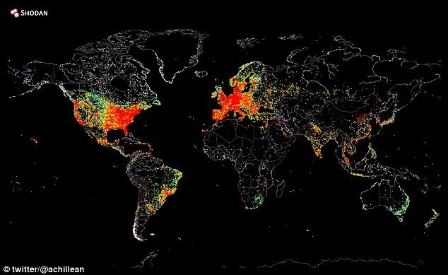 Map of the world shows every internet connected device lit up computer scientist uses software to build global map of connected web devices gumiabroncs Gallery