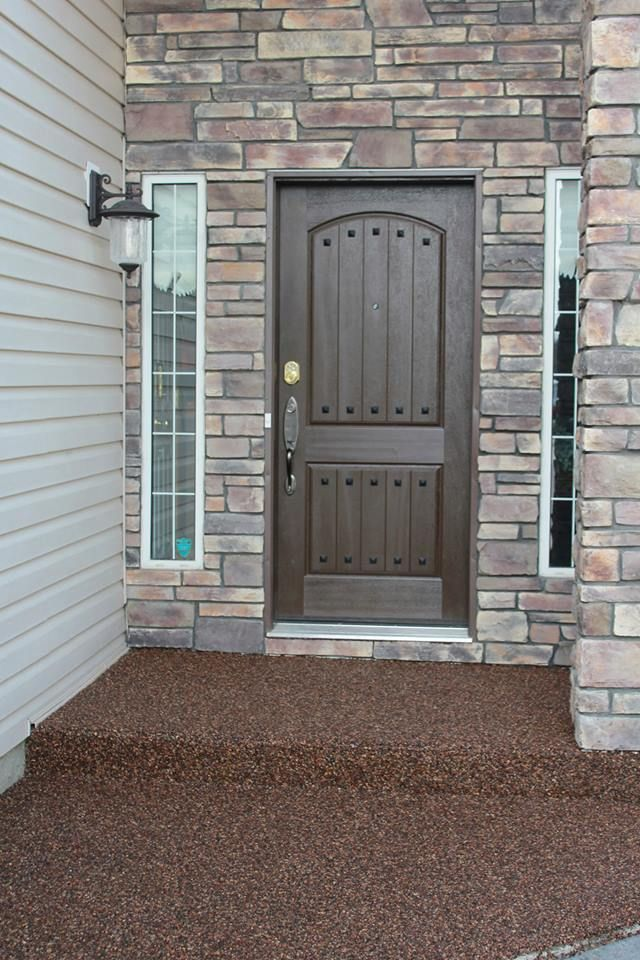Sidewalk front porch river rock concrete coating calgary for What is a porch