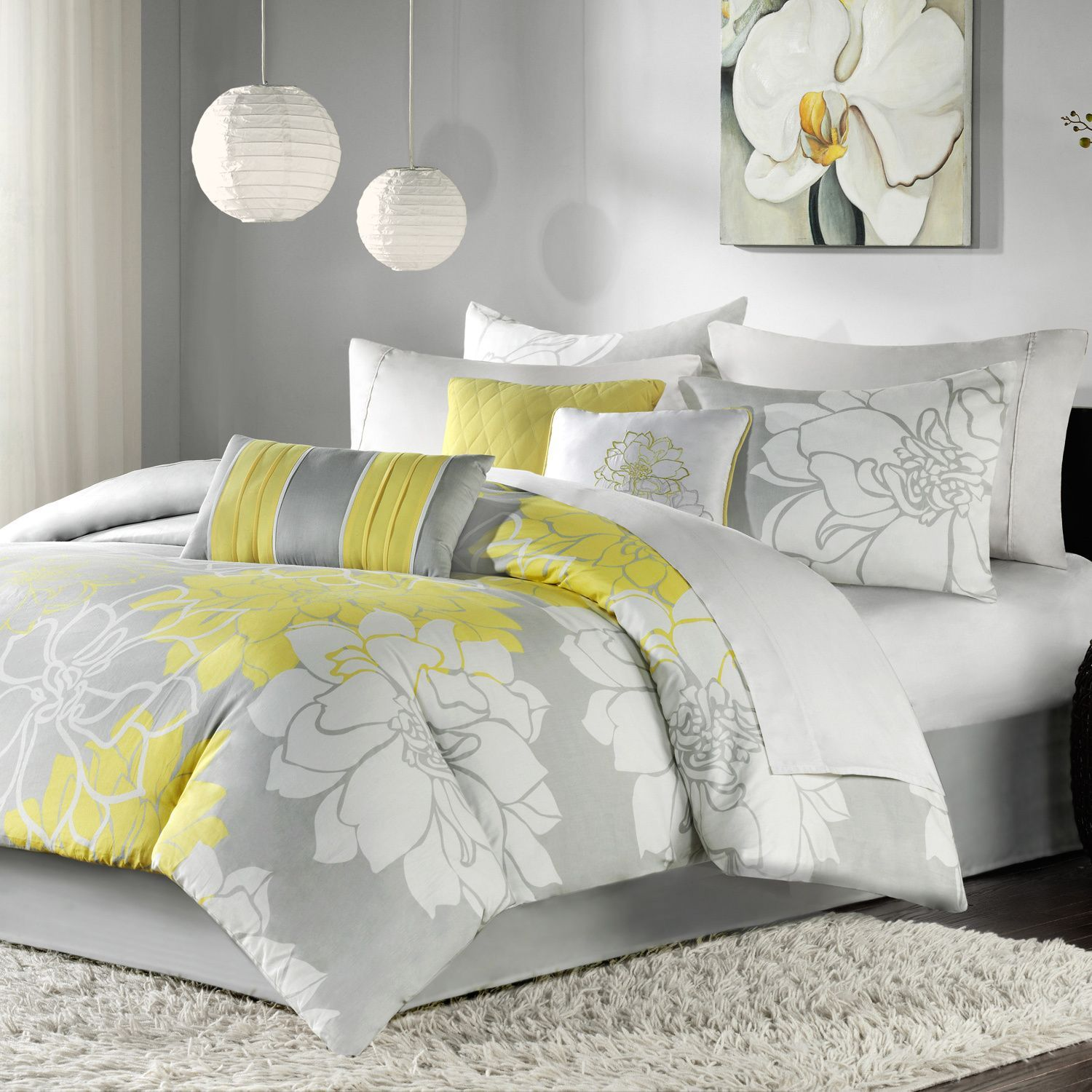 madison park brianna grey and yellow flower print piece cotton  - madison park brianna grey and yellow flower print piece cotton comforterset by madison park