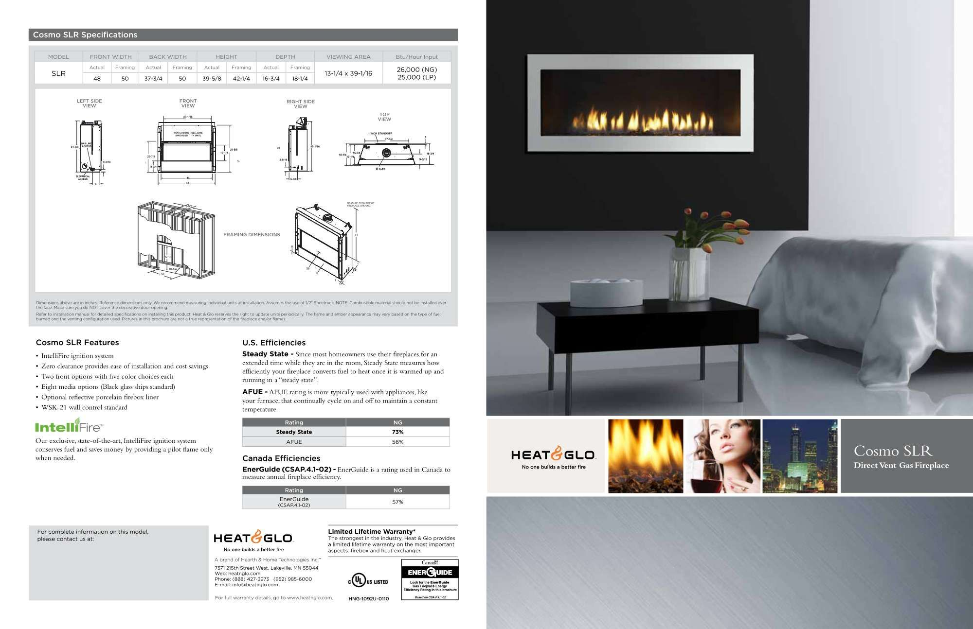 Heat Glo Cosmo Slr Direct Vent Gas Fireplaces Direct Vent Gas
