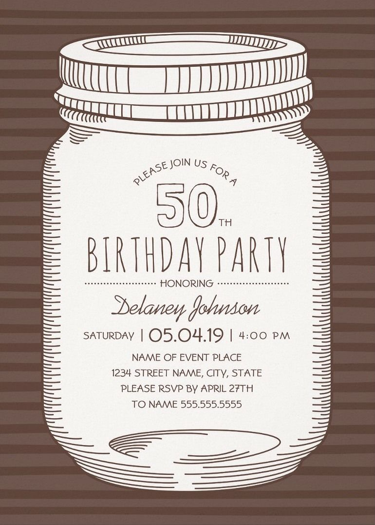 Rustic Mason Jar 50th Birthday Party Invitations – Vintage ...