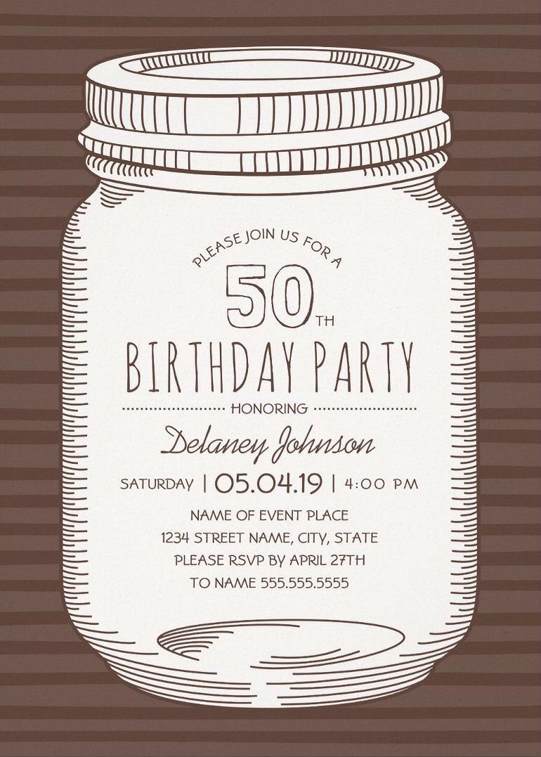 Rustic Mason Jar 50th Birthday Party Invitations Vintage Country – Country Party Invitations