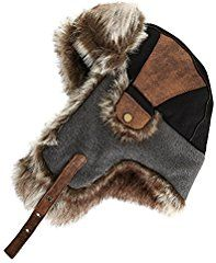 8ba8dd8523aa9 SIGGI Faux Fur Trapper Hat for Men Cotton Warm Ushanka Russian Hunting Hat