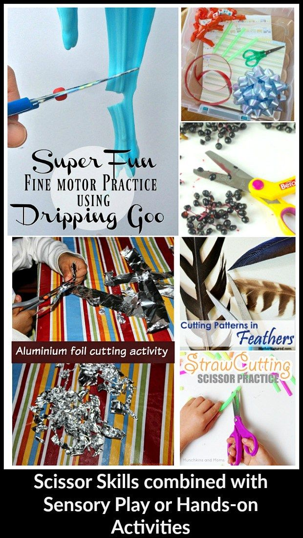Scissor Skills combined with Sensory Play or Hands-on Activities
