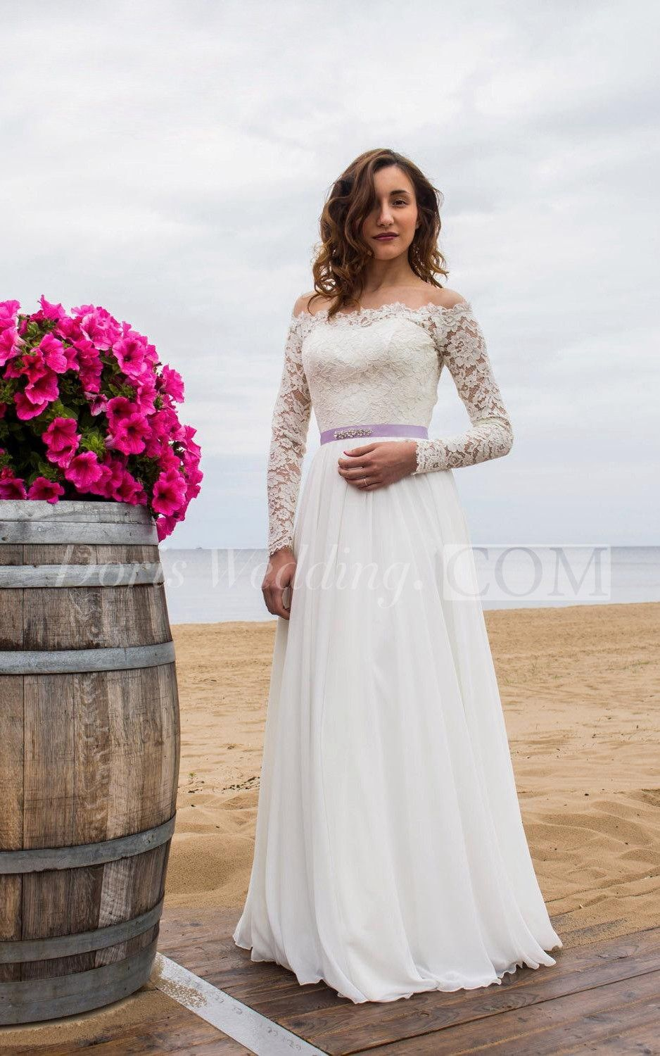 Offtheshoulder long sleeve lace and chiffon dress with bow sash