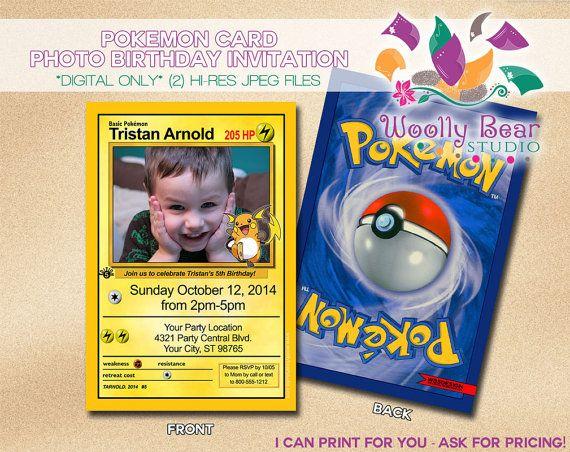 Printable Pokemon Card Photo Birthday Invitation By Woollybearstudio Birthday Invitations Kids Photo Birthday Invitations Photo Invitations