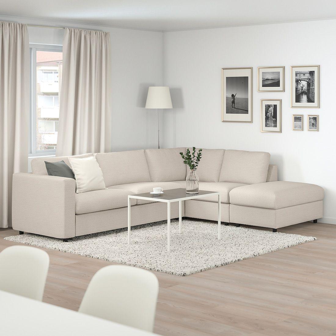 VIMLE Corner sleeper sofa, 5-seat - with open end, Gunnared beige