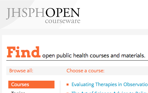 Find open public health courses and materials.