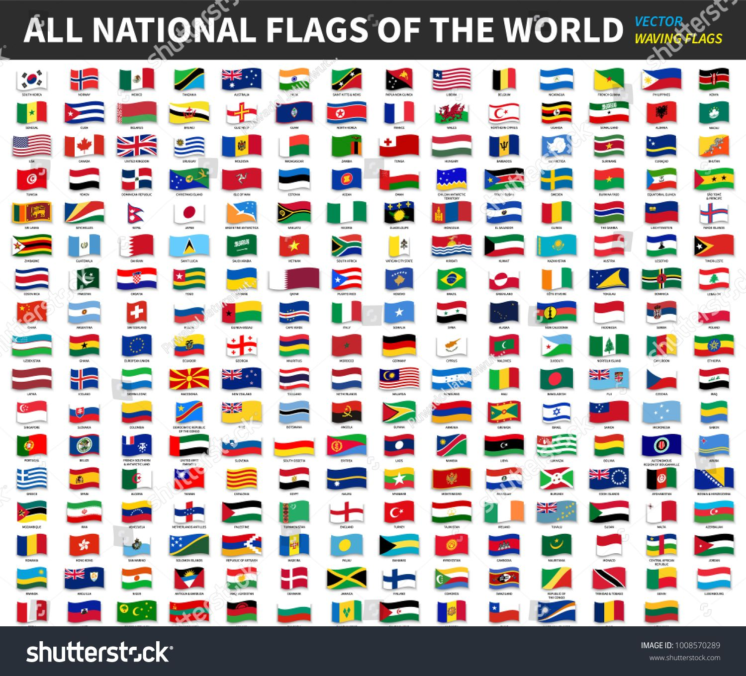 All Official National Flags Of The World Waving Design Vector Flags National Official World Flags Of The World National Flag Flag