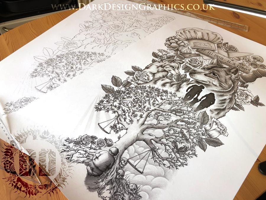 Life Story Tattoo Design TimeLapse Dark Design