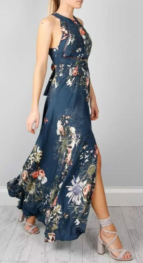 Womens Halter Backless Floral Print Maxi Dress