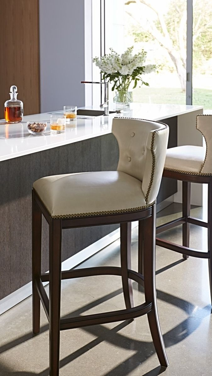 Gorgeous Upholstered Bar Stools In The Kitchen Add The Right