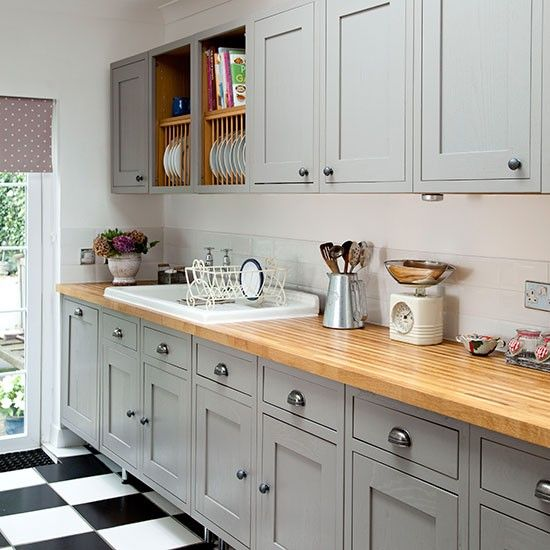 Grey Shakerstyle Kitchen With Wooden Worktop Kitchen Decorating - Grey kitchen cupboard paint
